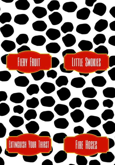 Free printable food labels for a fireman / firetruck birthday party (blank version available too)