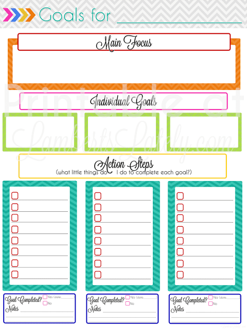 Monthly Goal Setting Free Printable Page || Colorful fun chevron || Ideas for Tracking Goals in the new year