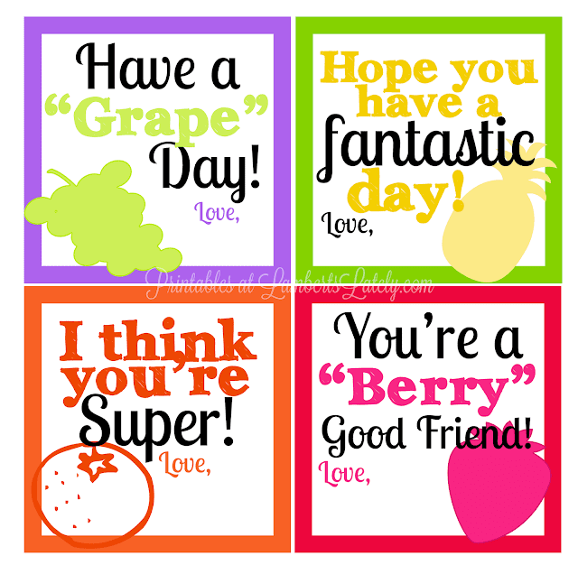 These are such cute lunch box note printables!  I love how colorful and fun they are.  The best part - they're free!