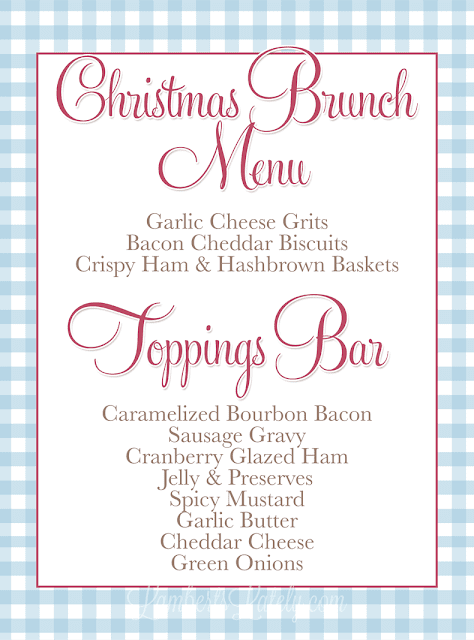 love this menu for a southern christmas brunch free menu and food label printables included