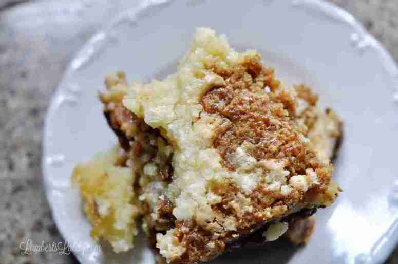 Salted Caramel Chess Squares are such a delicious dessert recipe for fall or winter! Rich caramel sauce and buttery cake make these bars so great for a party or potluck.