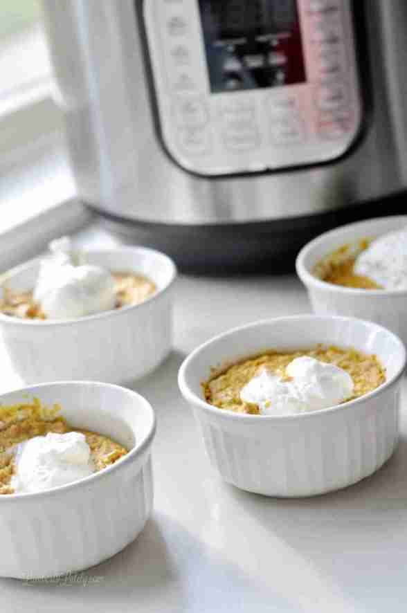 Instant Pot Mini Pumpkin Pies are an easy way to make your favorite Thanksgiving dessert in such an easy way. Pressure cook individual servings quickly! Great filling - almost a cheesecake consistency.