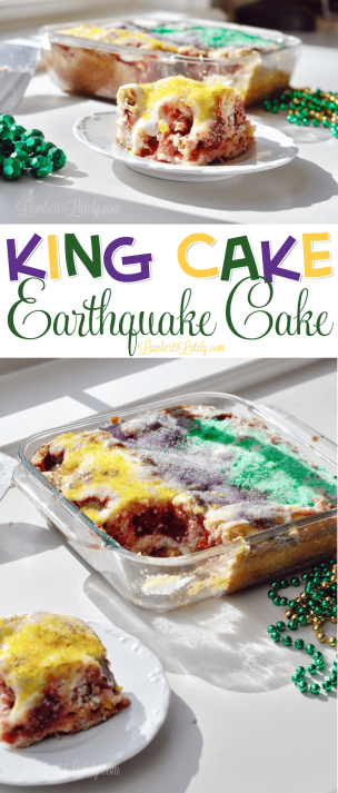 This recipe for King Cake Earthquake Cake is so easy - much simpler than making your own traditional king cake at home! Includes bites of cream cheese and strawberry filling (any fruit you'd like) in each bite.