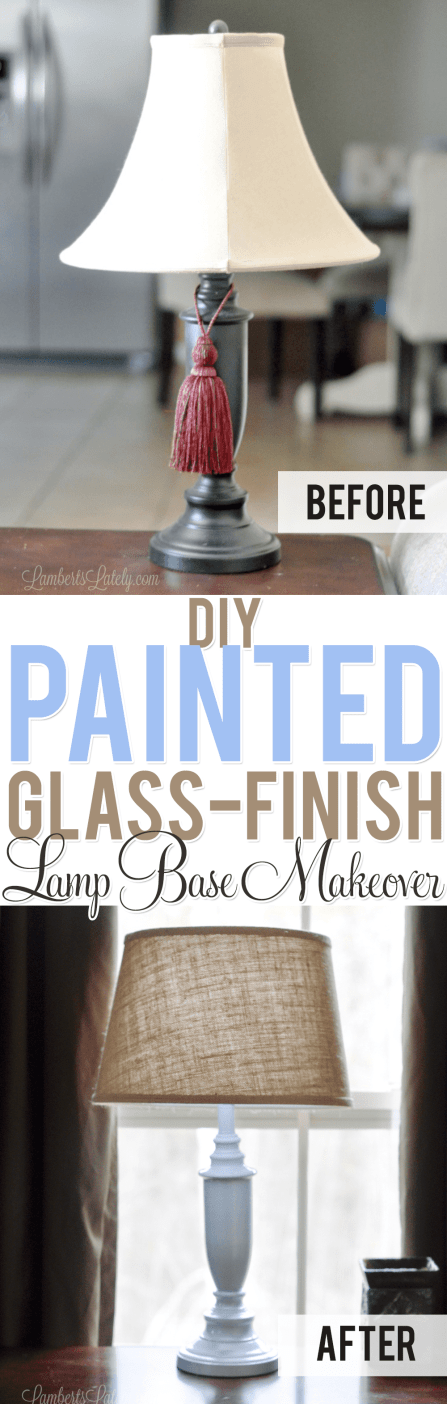This is a great DIY Glass Lamp Makeover. She used chalk paint to take an old metallic lamp (with primer) from dated to modern! The light blue color is gorgeous and the polyurethane finish gives it such a glossy finish.