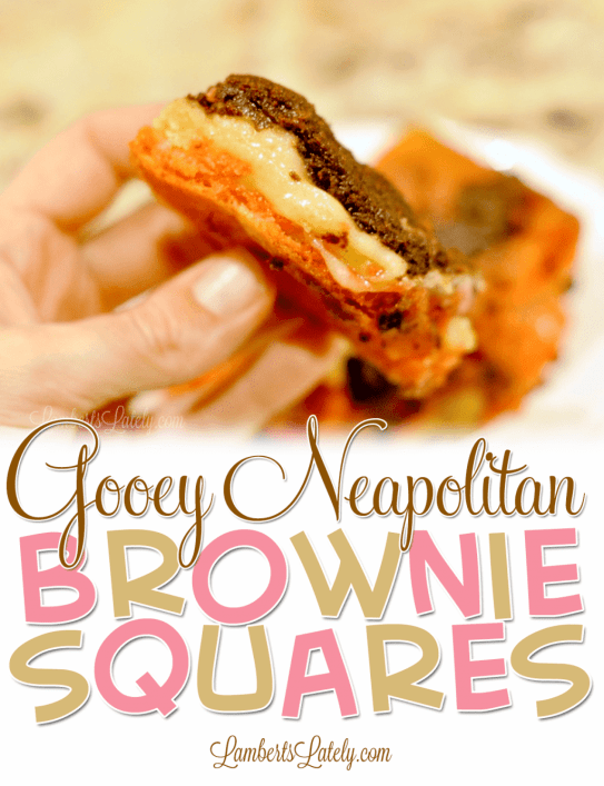 This is such a great dessert recipe for Gooey Neapolitan Brownie Squares!  Combines flavors of rich chocolate brownies, vanilla, and strawberry into one baked treat.
