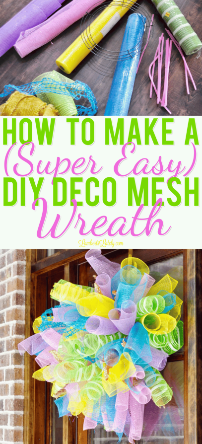 This tutorial for how to make a DIY Deco Mesh Wreath uses simple steps and can be used for spring or summer!  Make your own whimsical wreath at home with inexpensive materials.
