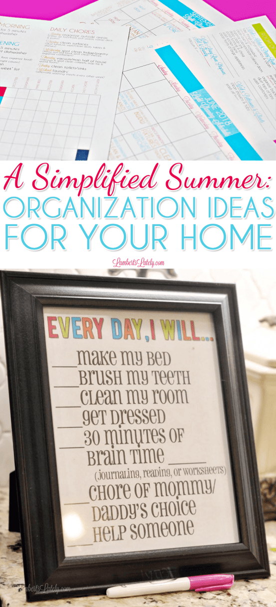 This post is full of ideas for simplified summer routines, including a free chore chart printable for kids and summer organization ideas for your cleaning/work schedules!