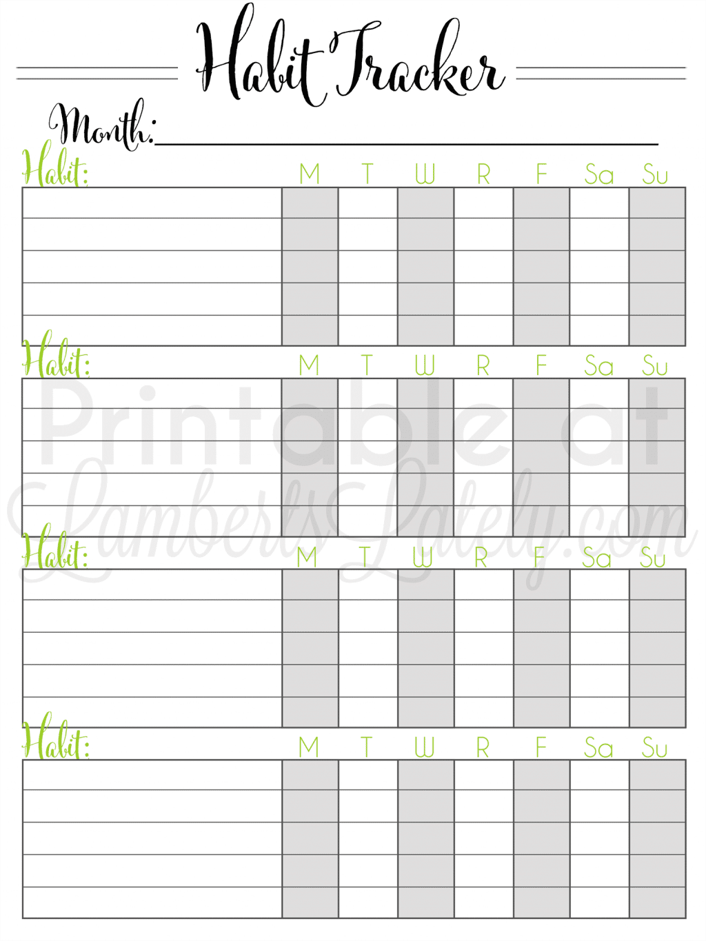 It is a graphic of Monthly Habit Tracker Printable intended for pdf