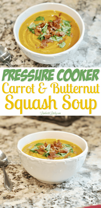 This Pressure Cooker Carrot & Butternut Squash Soup can be prepped in popular cookers like the Instant Pot and is insanely rich/creamy and dairy free! It's a healthy recipe that has a slight hint of curry...delicious for a fall meal.