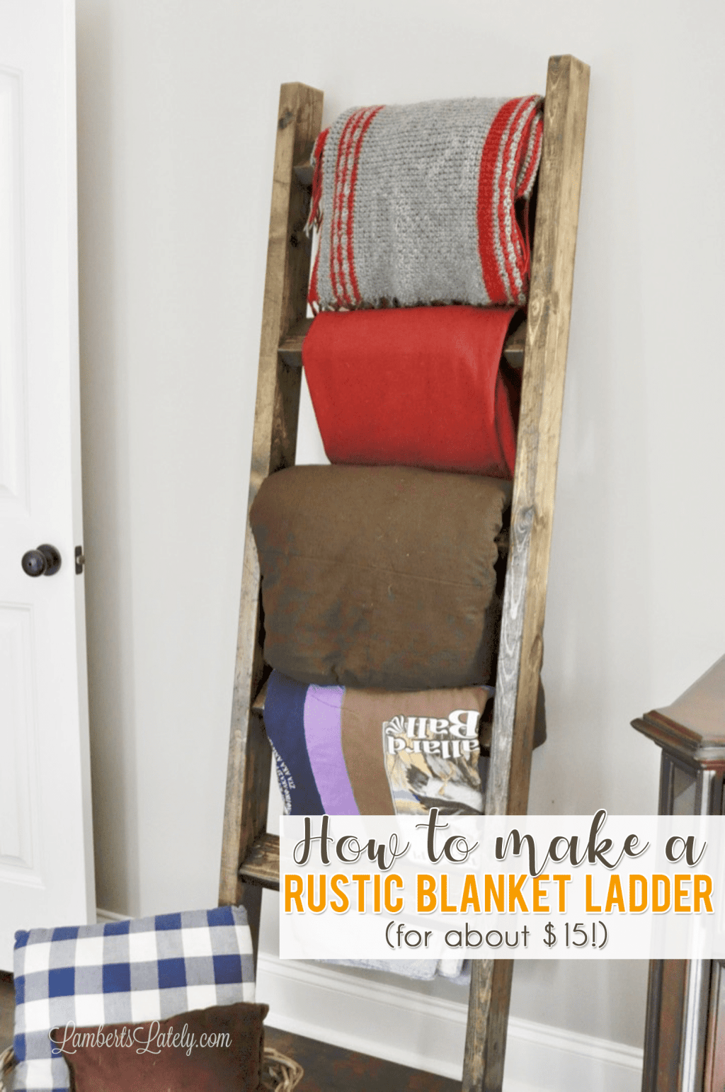 Find out how to make an inexpensive DIY Blanket Ladder with simple 2x4s!  This is the perfect functional piece to complement farmhouse decor. This post includes free plans and instructions.