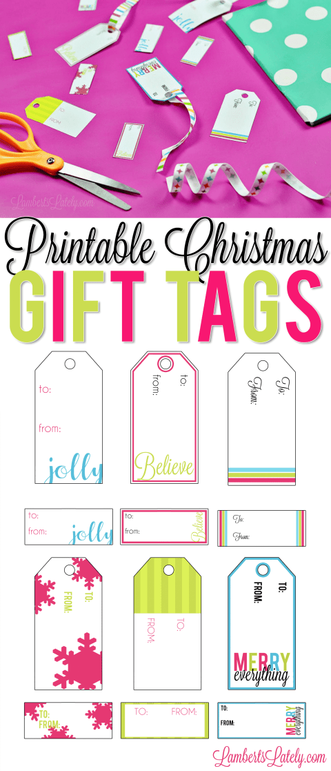 These printable Christmas gift tags are absolutely free and would be so cute for kids, teachers, or family with bright wrapping paper! Just print on card stock.