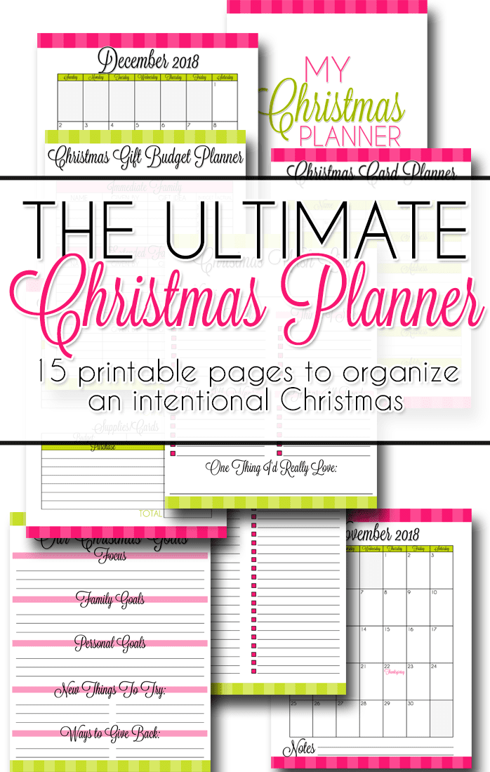 This set of Christmas Planner printables includes pages to track ideas for the holidays, calendars for both 2018 and 2019, pages to track gifts and budget, and even meal planning and card planning sheets.  Info on how to get the files for free in the post!