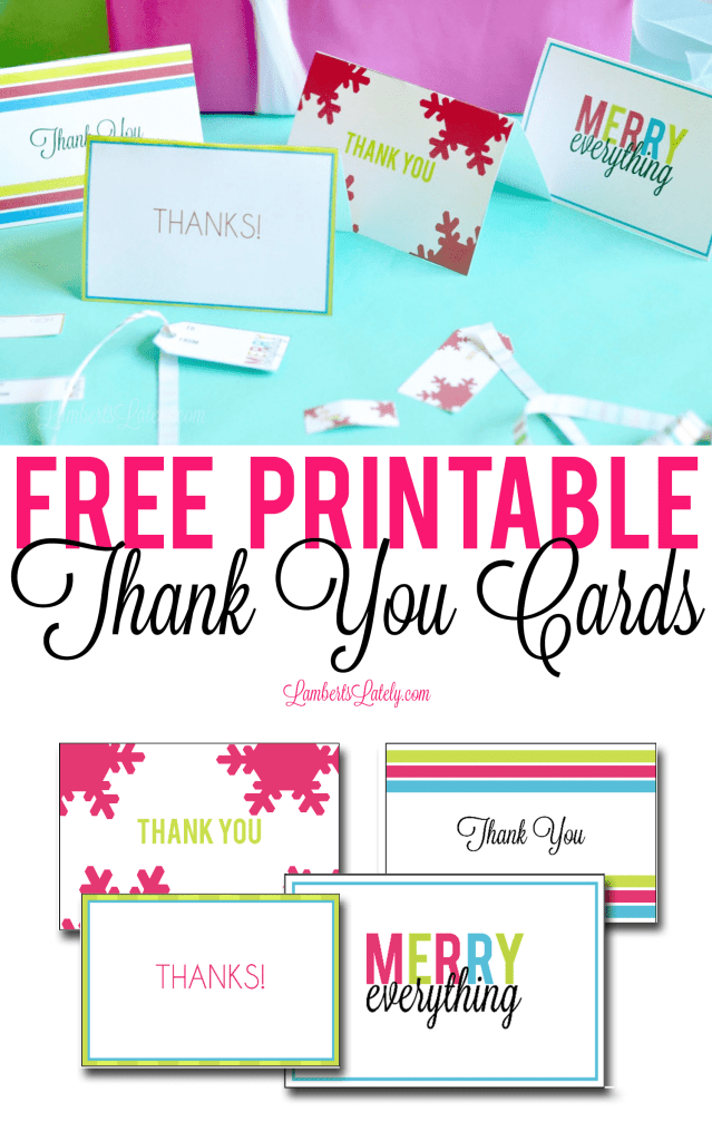 This set of templates for free printable thank you cards can be used by kids and adults - very bright and colorful!  Great to use for the holidays or birthdays.