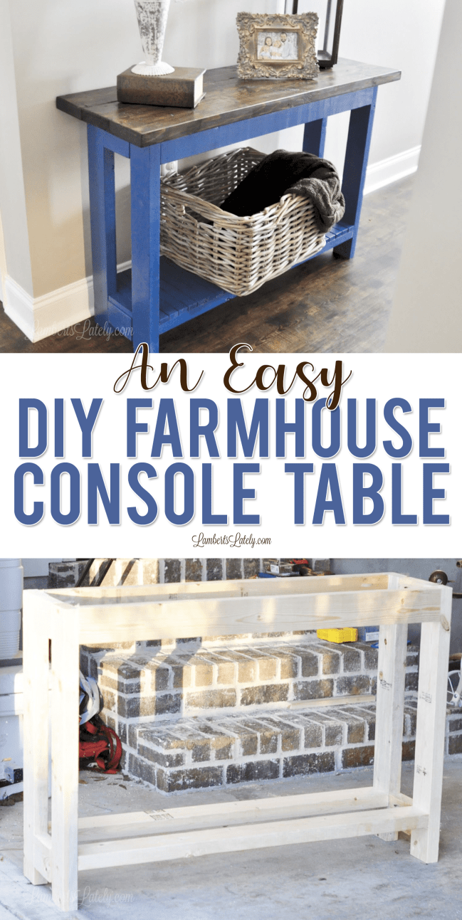 Find easy plans for a DIY farmhouse console table in this post, complete with ways to style an entry table.