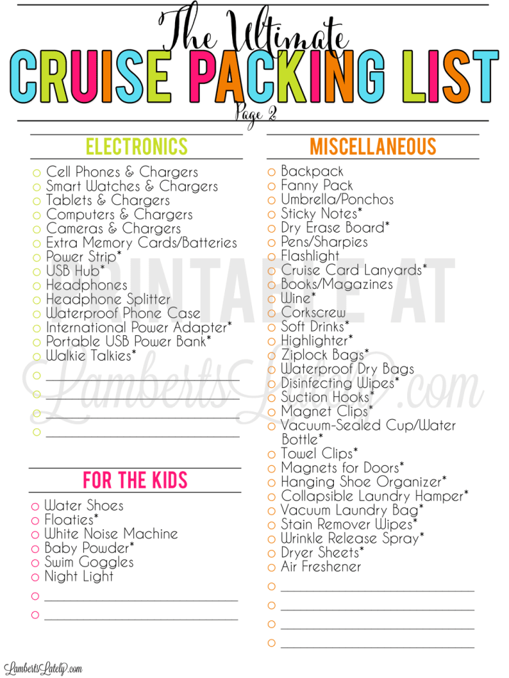 Grab a free printable cruise packing list, complete with tips for packing for a Carnival/Royal Caribbean cruise, things to pack for kids, Dollar Store hacks, and more!