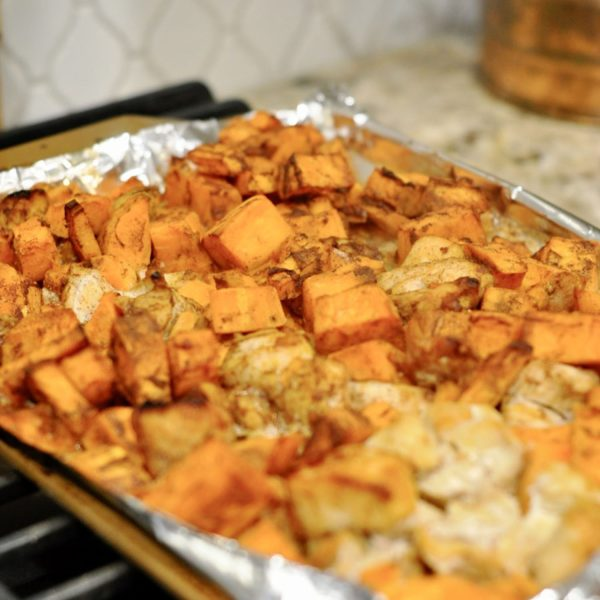 Sheet Pan Barbecue Chicken & Sweet Potatoes (Part 8 – Sheet Pan Dinners Freezer Meal Boot Camp)