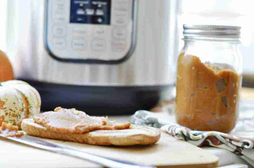 This recipe for quick & easy homemade Instant Pot Pumpkin Butter uses a few really simple ingredients (like pumpkin puree, cinnamon, and maple syrup) to make a delicious topping for desserts of breakfasts. Close copycat of the Trader Joe's version!