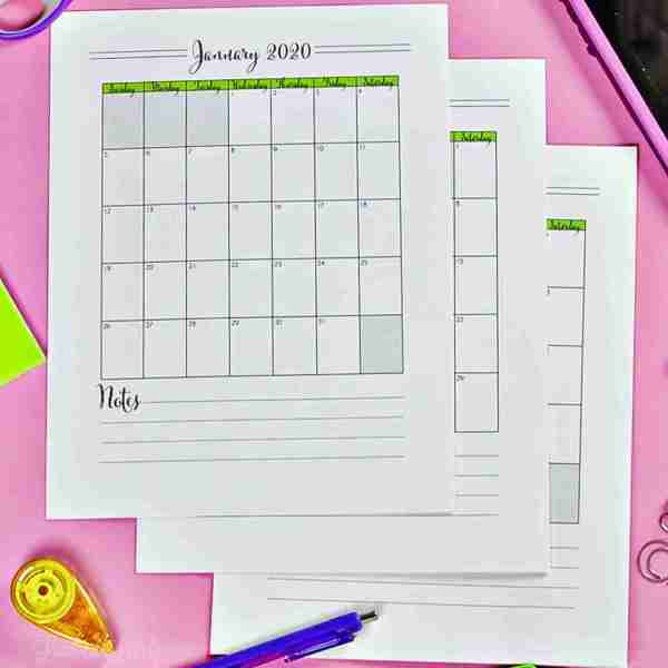 Free Printable Monthly Calendars for 2020