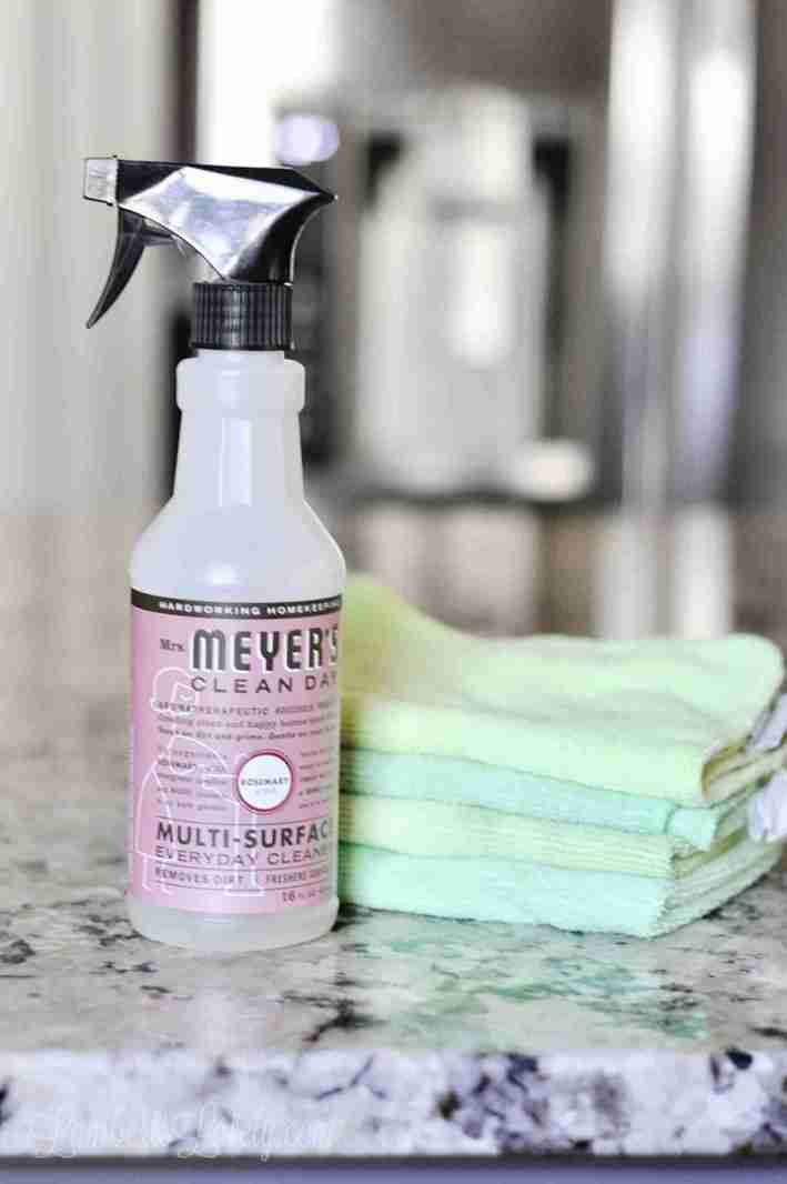 This post outlines how to clean granite countertops with an easy daily cleaning method Shows products to use, a DIY cleaner recipe with rubbing alcohol, and daily cleaning/maintenance.