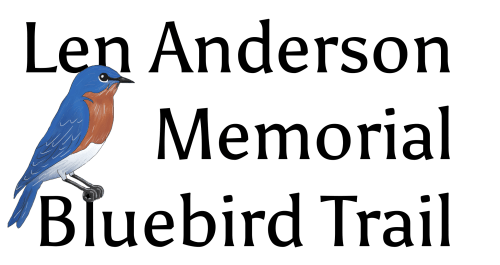 "Len Anderson Memorial Bluebird Trail logo with bluebird sitting on the letter ""l"" of bluebird."