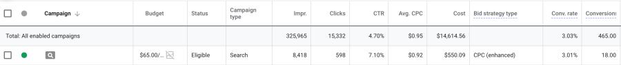 PPC manual cpc campaign results