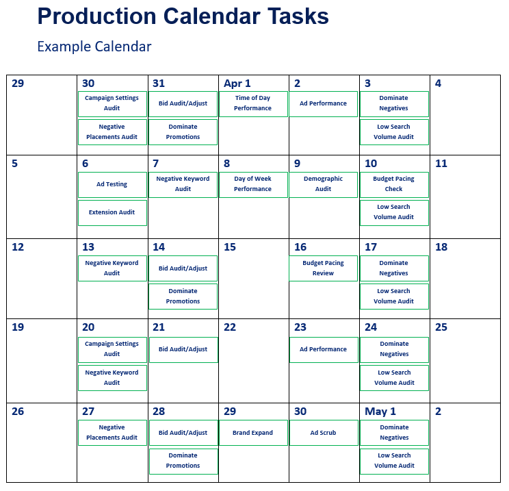 Google Ads Production Calendar