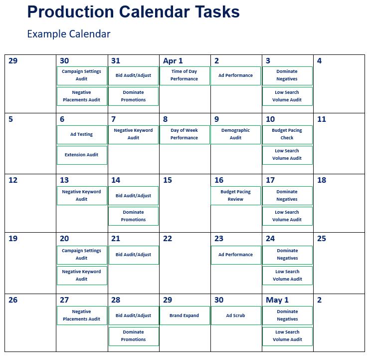 Google Ads Production Calendar