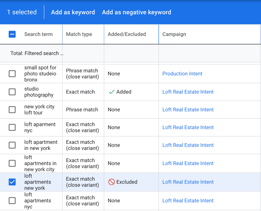 adding negative keywords in google ads