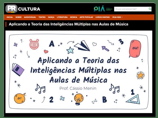 Aplicando a Teoria das Inteligências Múltiplas nas Aulas de Música Cássio Menin