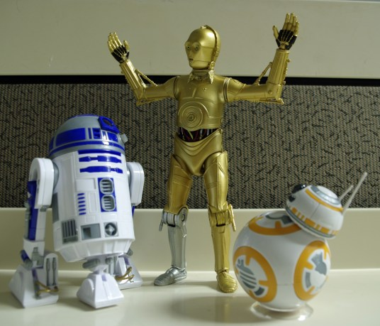 Star Wars Black Series C-3P0, Bandai R2-D2 and BB-8
