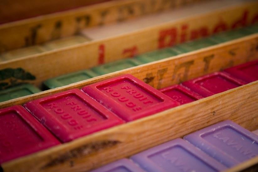 Handmade soaps in the open market in Aix