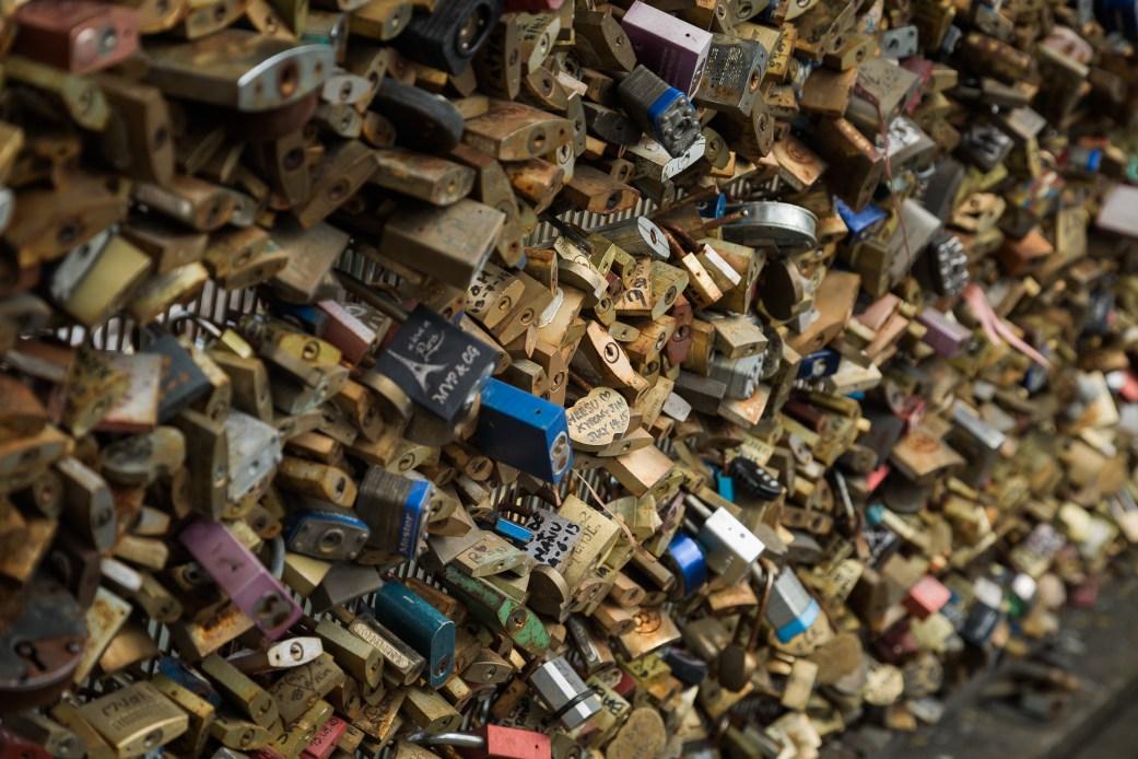Love Locks on Pont des Arts Bridge