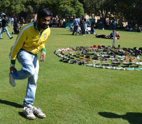 Even Wits SRC president Shafee Verachia donated the shoes he was wearing. Photo: Lameez Omarjee