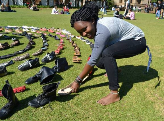 Patience Moyo, 3rd year LLB, donated the shoes she got as a gift from her best friend, on her 21st birthday. Photo: Lameez Omarjee
