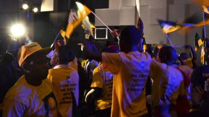 RAISE YOUR FLAG: ANC supporters sang and chanted praises before cameras rolled. Photo: Lameez Omarjee