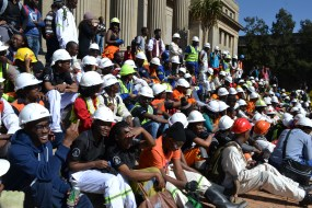 ROAR: Mining students got together to remember Marikana and the 1946 African Mineworkers Strike. Photo: Lameez Omarjee