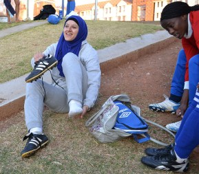 ALL IN: Naeema Hussein, 2nd year BSc Physiotherapy student gets ready for soccer practice, with her hijab tightly secured, she plays for the Wits Women's soccer team. Photo: Lameez Omarjee