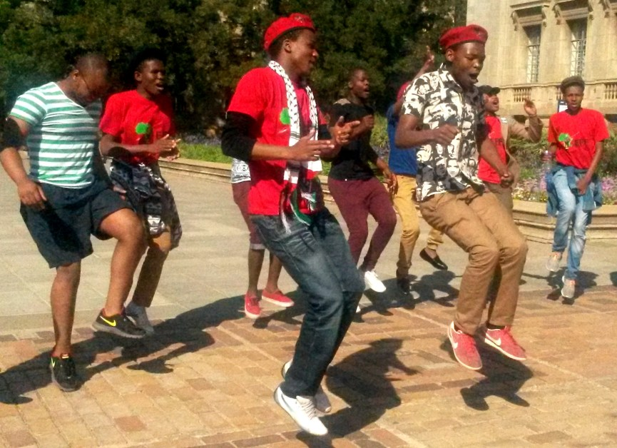 JUMPING FOR JOY: The EFF's singing and dancing was shortlived. None of the candidates were elected into office. Photo: Lameez Omarjee