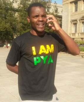 RING RING: PYA candidate, Mcebo #Sisulu Dlamini shared the good news of his being elected into the Wits SRC 2014/2015. Photo: Lameez Omarjee