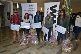 HOT SHOTS: Winners of the Transformation Office Identity Through Hair photography competition, were announced last night at the John Moffat auditorium, Wits University. From left: Junaid Sheik Hussein (public vote winner), Lanice Jegels (second place), Ntokozo Xaba (first place), Realeboga Lebogang Oagile (fifth place) and Lindiwe Gugushe (third place). Photo: Lameez Omarjee