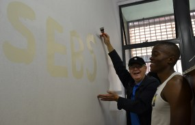 MAKE A MARK: SEBS Head of School, Prof. Jannie Rossouw had an opportunity to practice his graffiti skills too. Photo: Lameez Omarjee