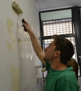 CLEAN SLATE: Students were eager to paint nd finished the job by 11am! Photo: Lameez Omarjee