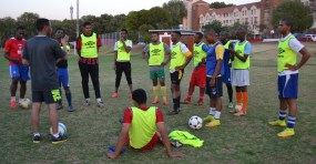 SOCCER STRATEGY: Coach Karabo Mogudi is confident that his team will perform well to go through to finals, after their USSA semi-final match against Tuks. Photo: Lameez Omarjee