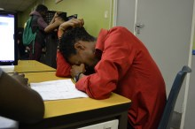 40 WINKS: Masters student Modisana Mabale was mistaken for taking a nap in the CNS labs at Senate House, but he was illustrating the issue of homeless Wits students sleeping in computer labs and libraries. Photo: Lameez Omarjee