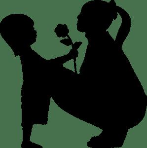 sombra de madre e hija con una flor
