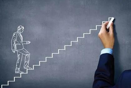 Desenho, de, um, pessoa, escalando escadas