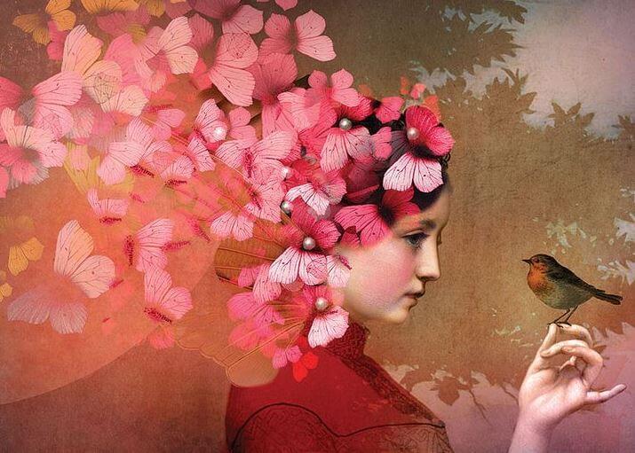 Mujer con la cabeza llena de flores y un pájaro en la mano