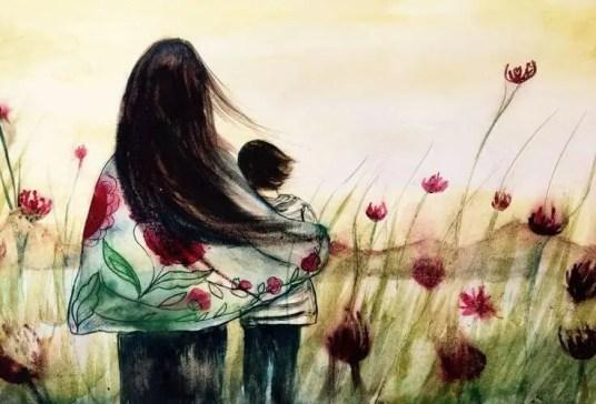 Madre con hijo en el campo
