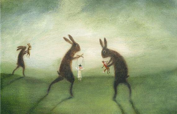 Conejos gigantes manipulando a personas