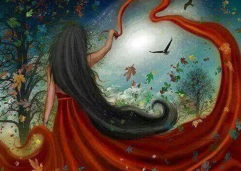 mujer de rojo pensando en hacer el bien